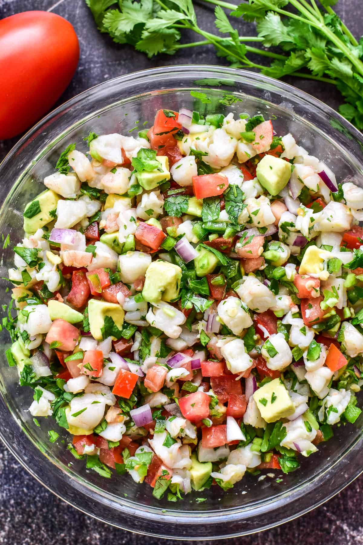 Close up of Shrimp Ceviche in a mixing bowl