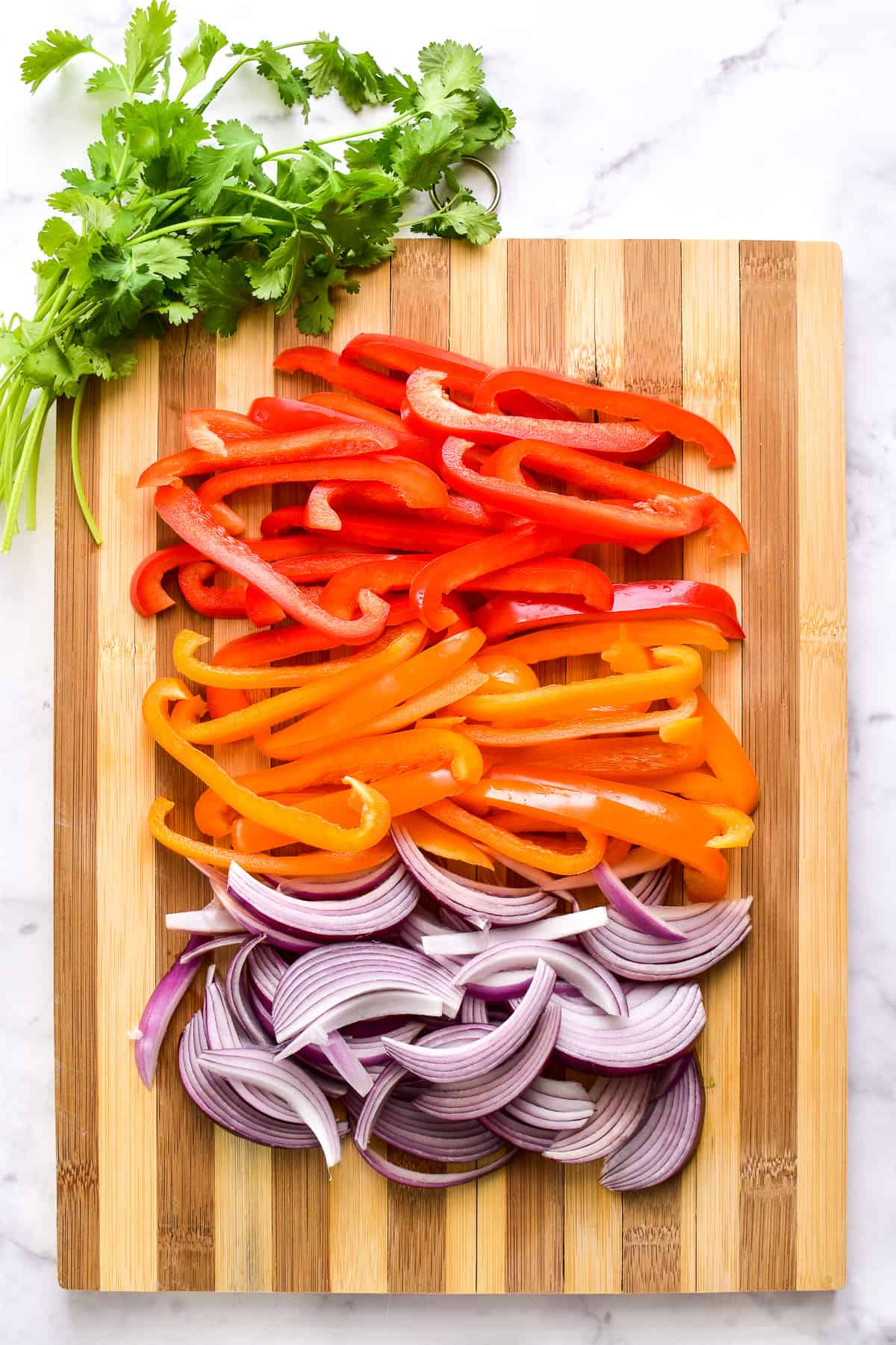Sliced peppers and onions for fajitas