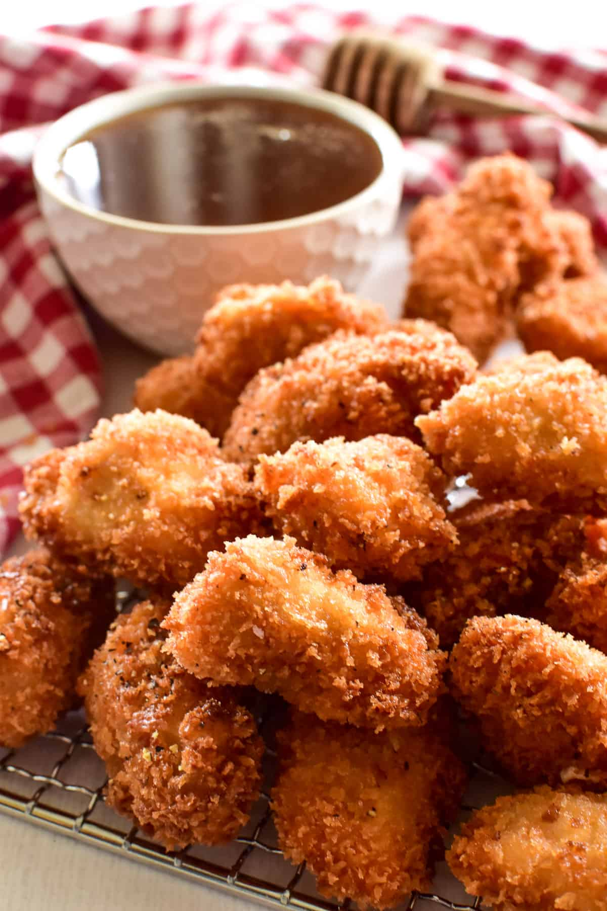 Crispy Chicken Nuggets with Hot Honey