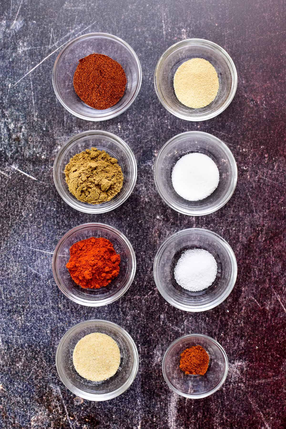 Fajita spices in small glass bowls