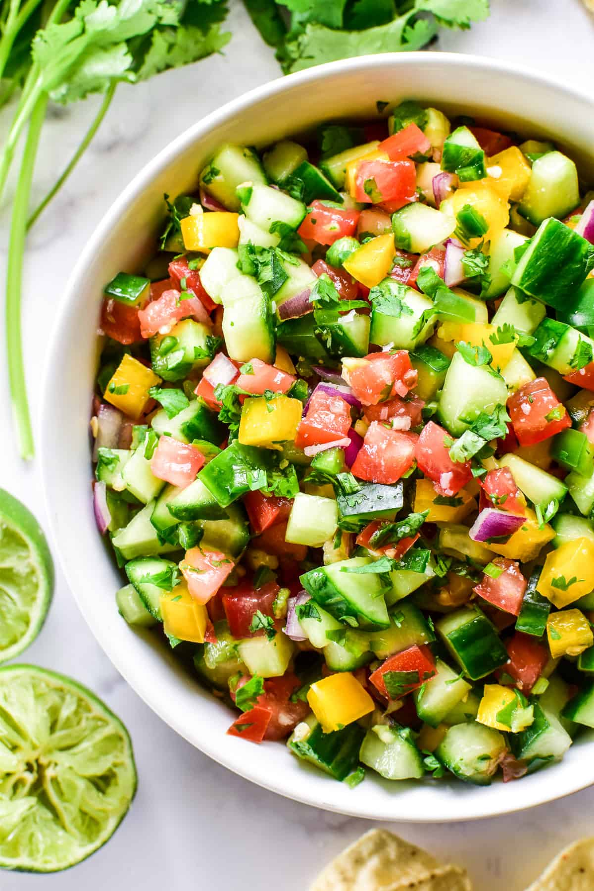 Overhead close up of Cucumber Salsa in a serving bowl