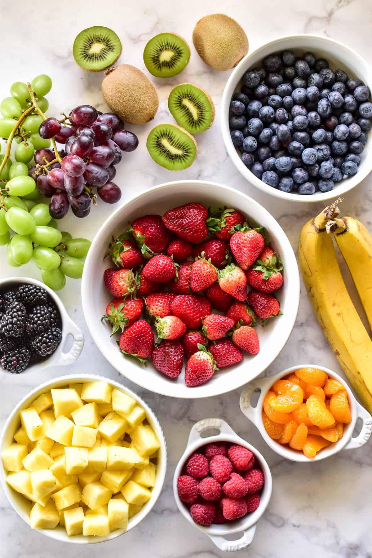 Fruit Salad ingredients on a marble slab