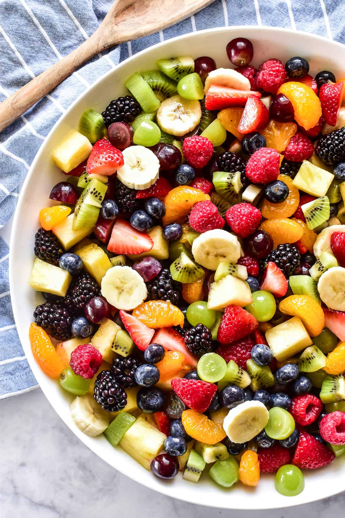 Overhead image of Fruit Salad in a white bowl