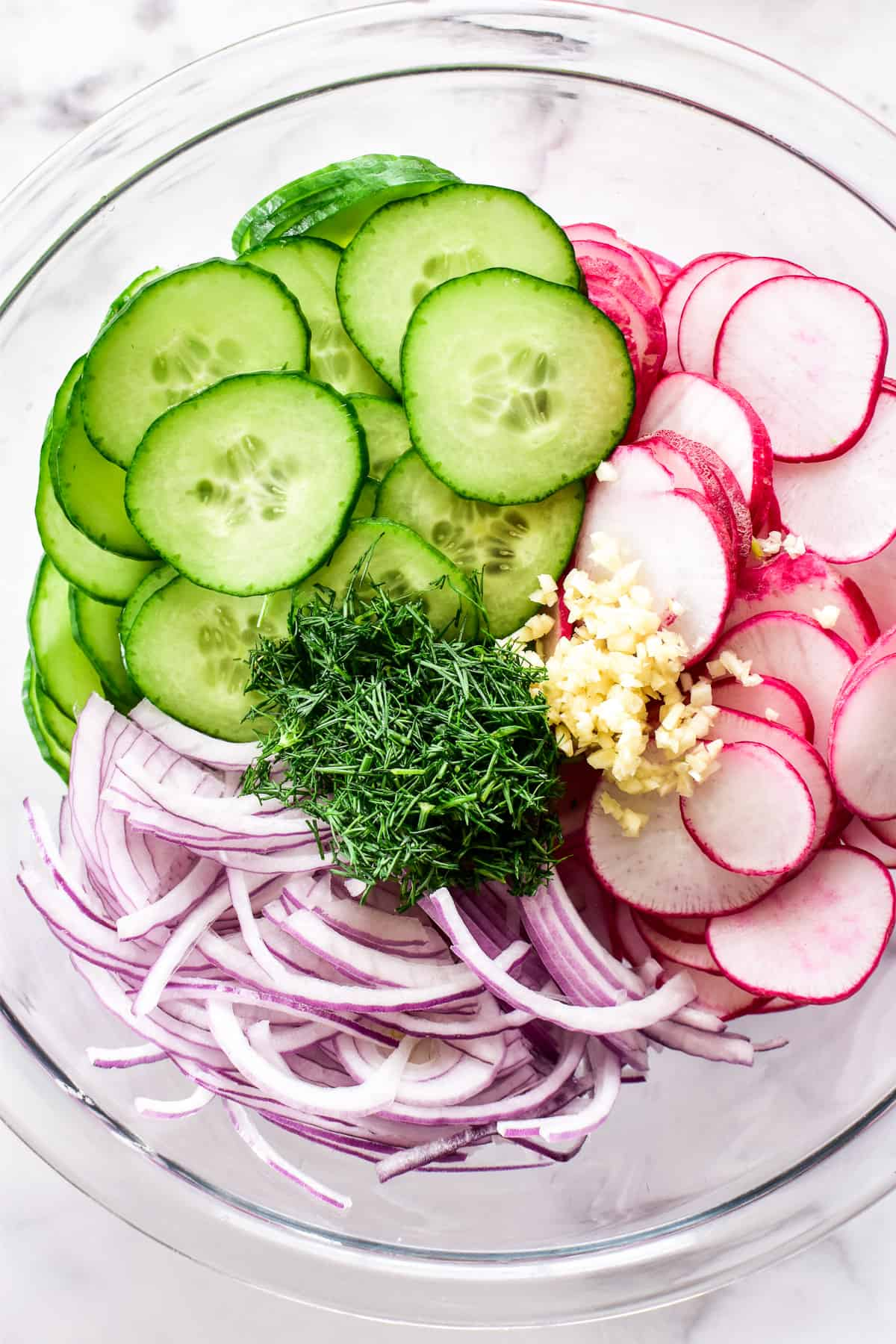 Radish Salad ingredients in a mixing bowl
