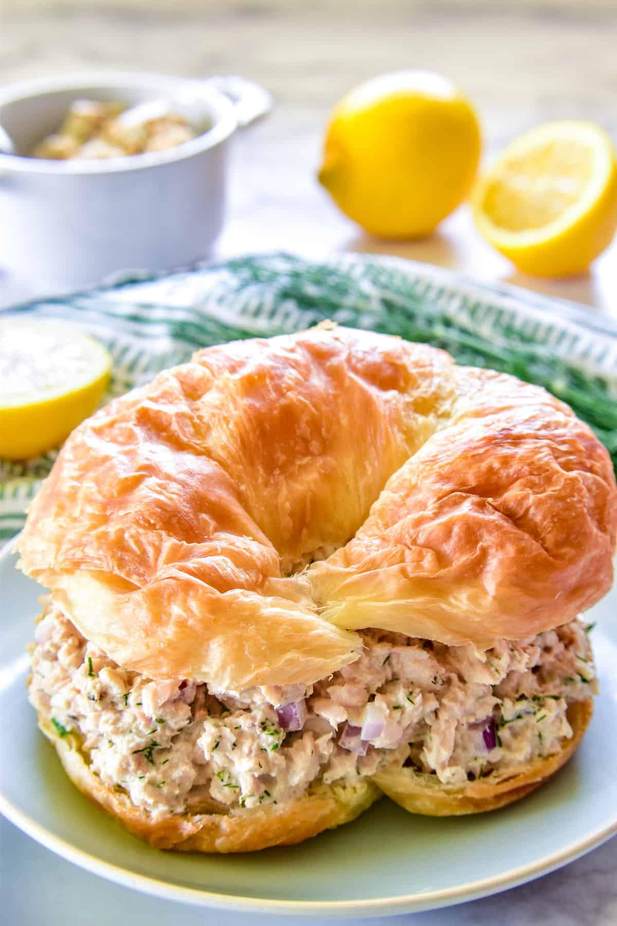 Salmon Salad on a croissant
