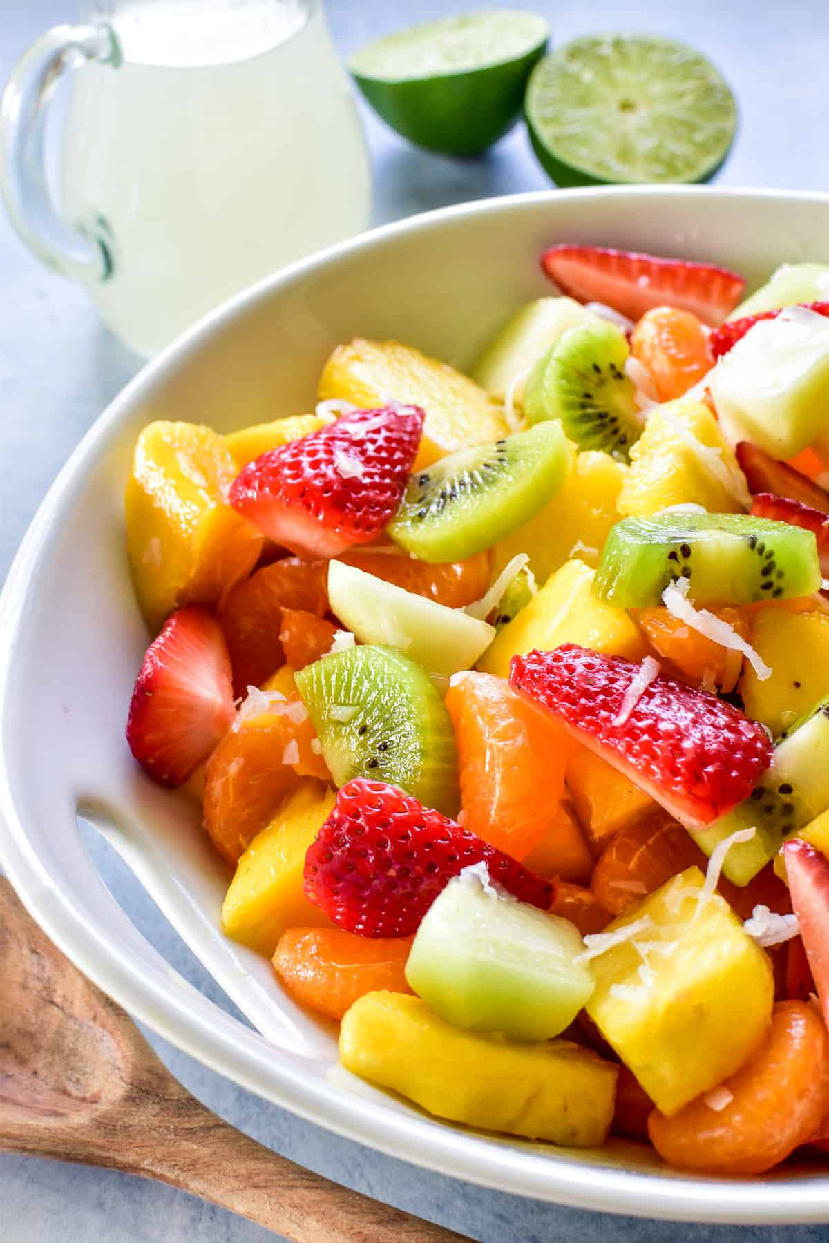 Tropical Fruit Salad with coconut lime simple syrup