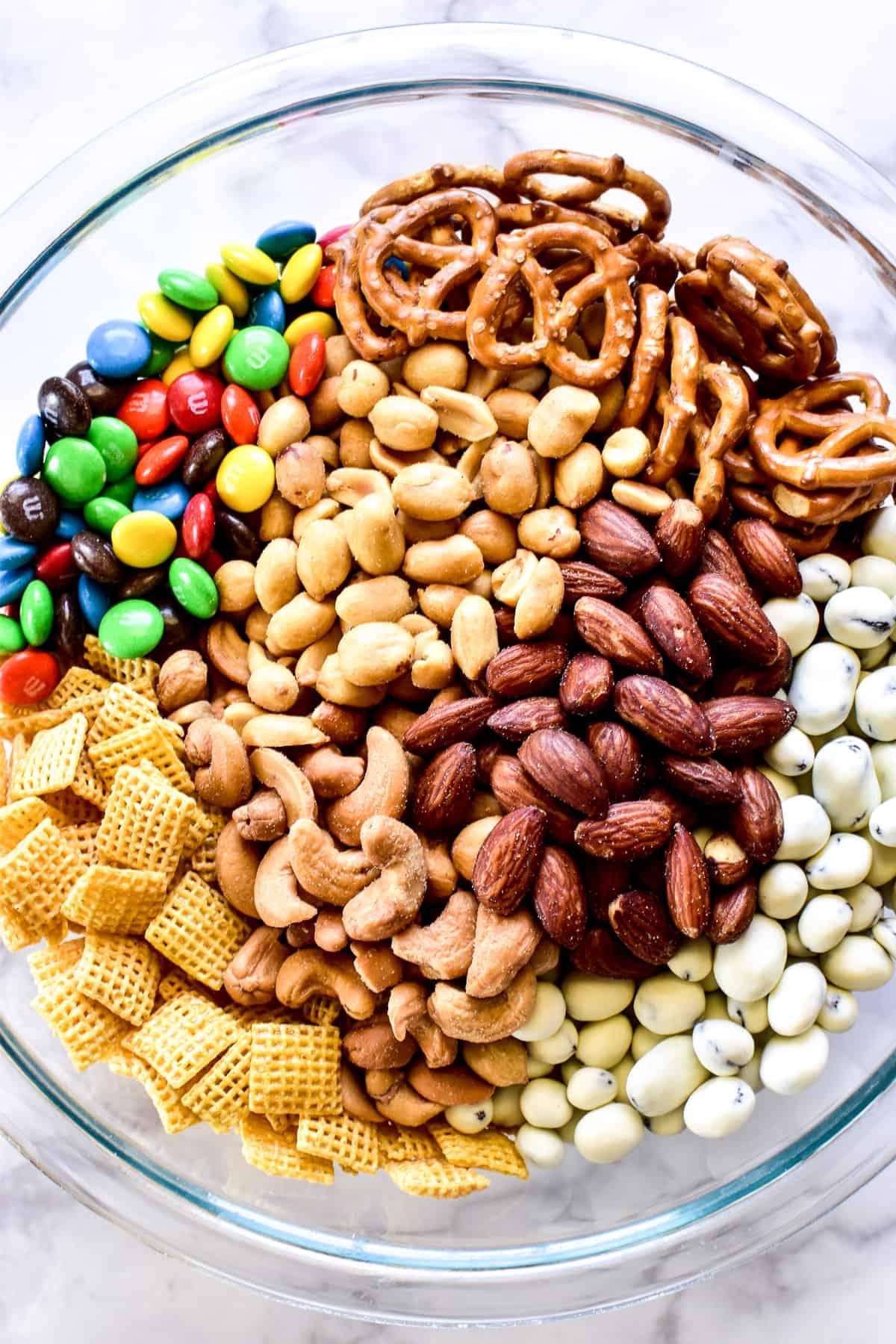 GORP ingredients in a large mixing bowl