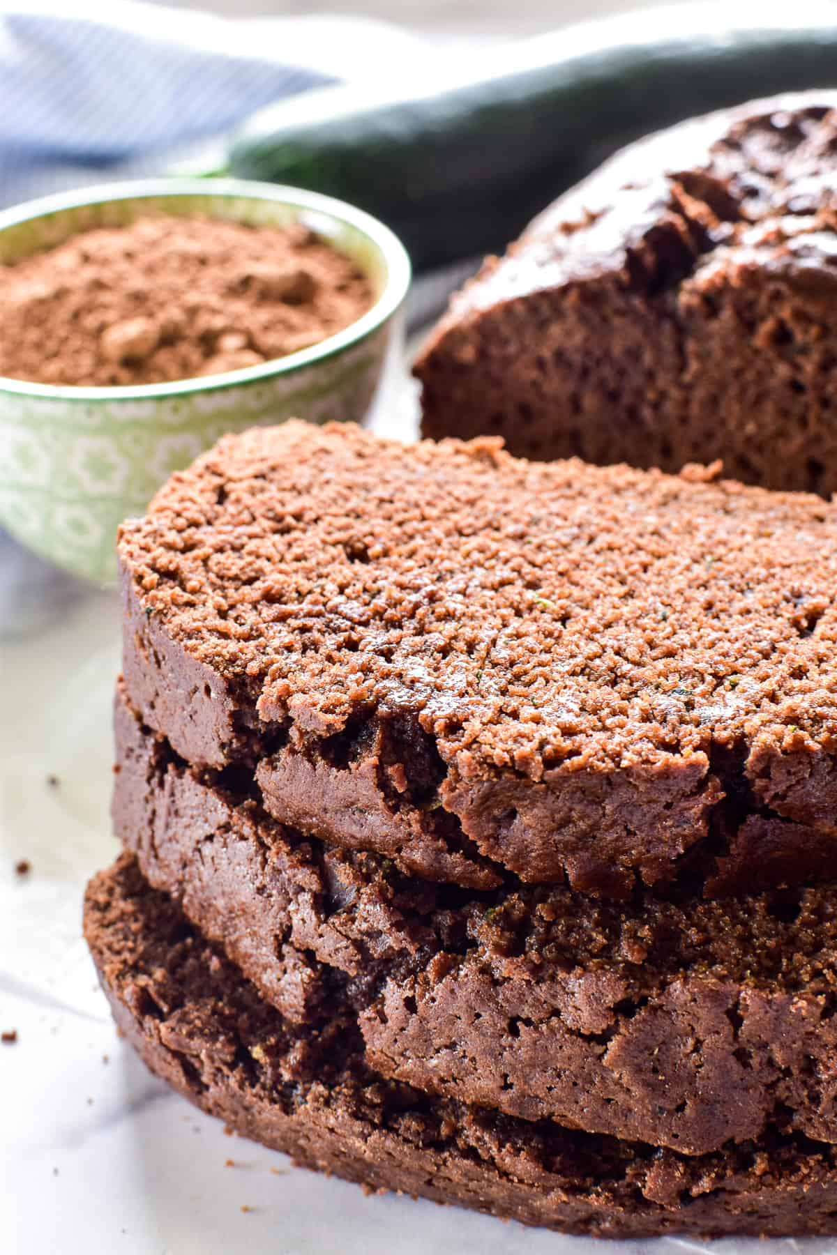 3 slices of Chocolate Zucchini Bread in a stack