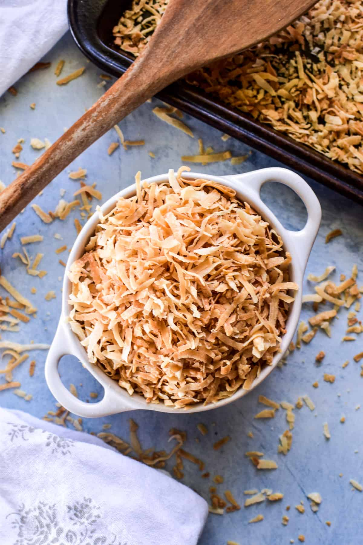 Overhead image of Toasted Coconut in a bowl