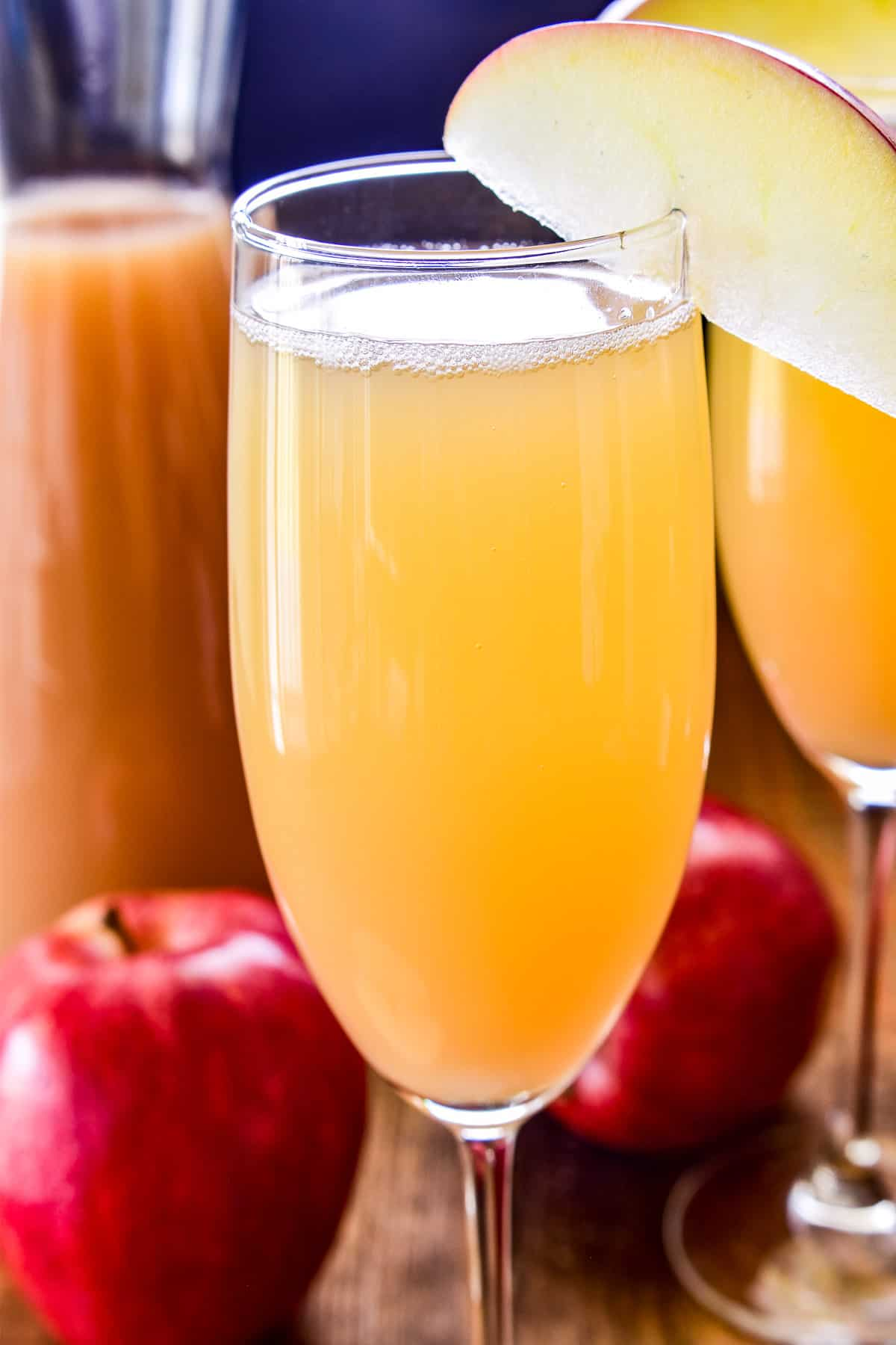 Close up of Apple Cider Mimosa in a champagne flute