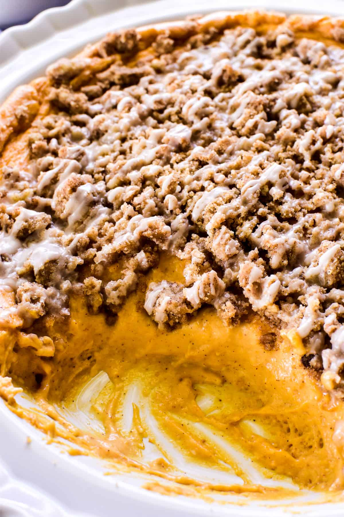 Close up of Pumpkin Cheesecake Dip with Streusel Topping