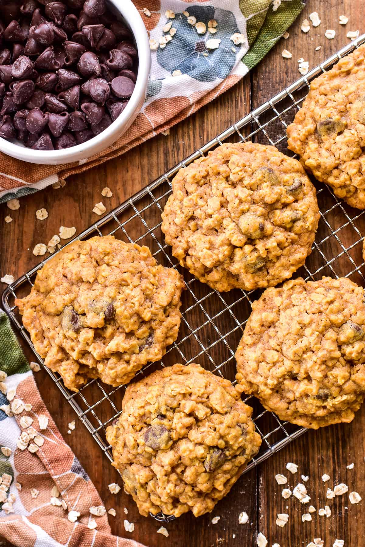 Overhead image of Pumpkin Oatmeal Chocolate Chip Cookies on a wire rack