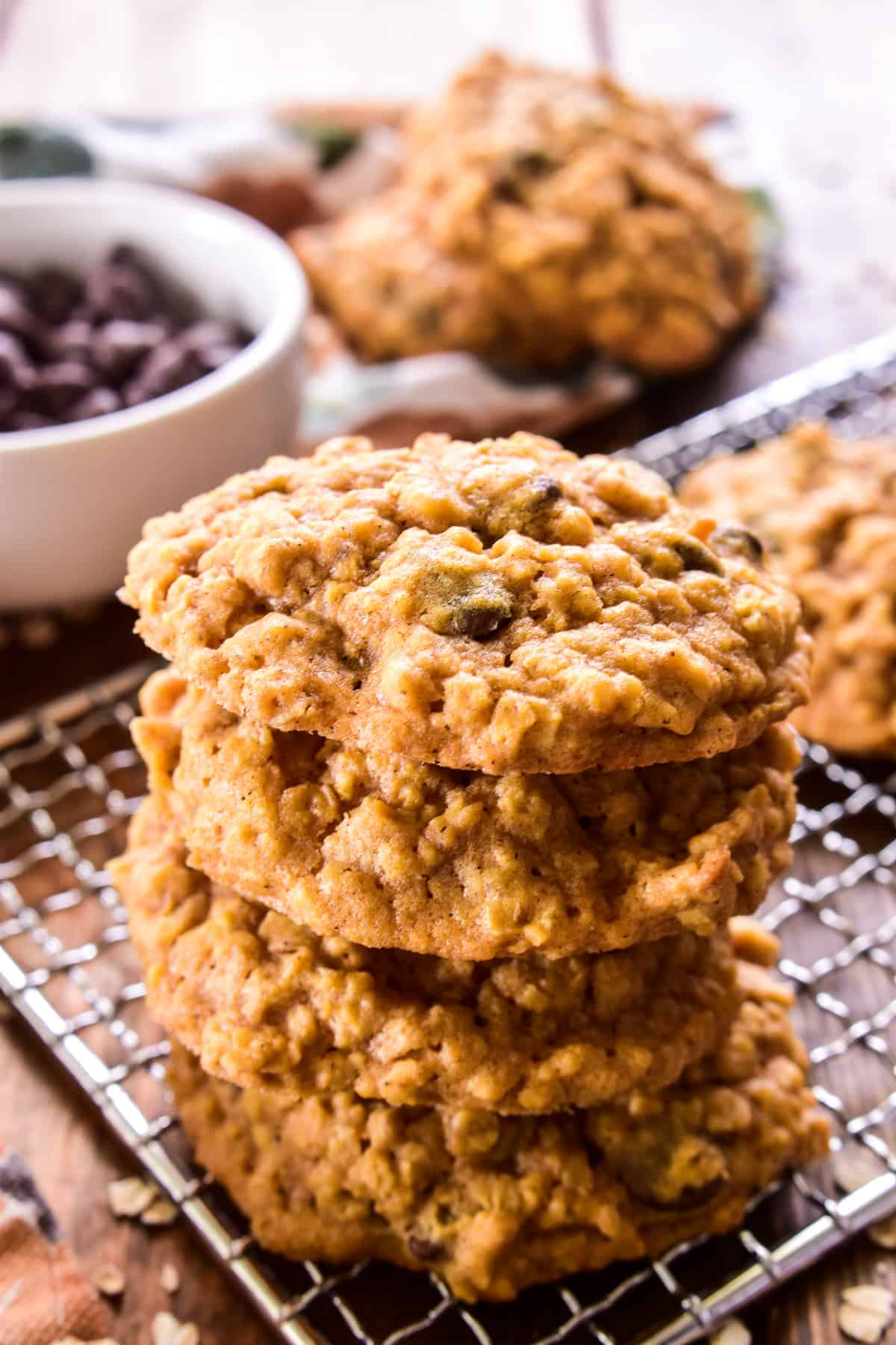 Stack of 4 Pumpkin Oatmeal Chocolate Chip Cookies