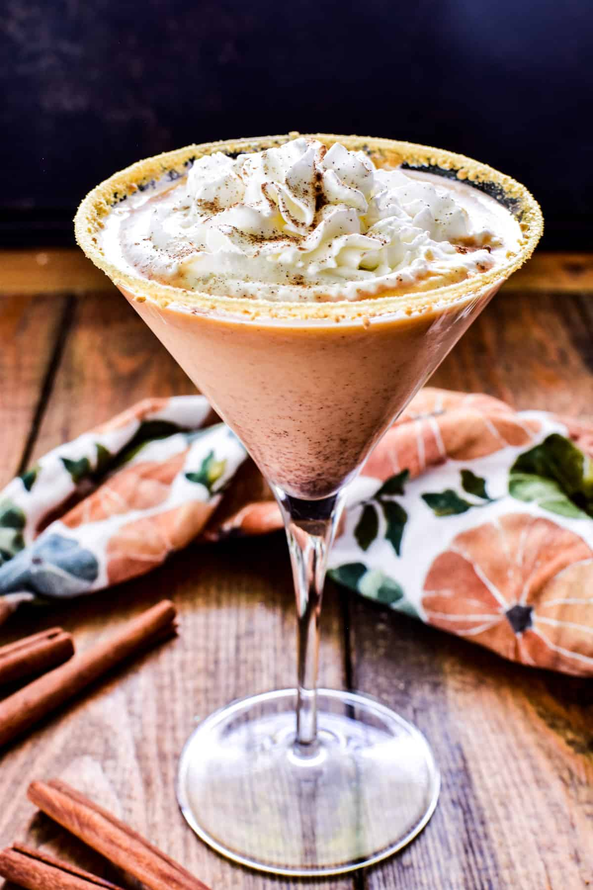 Pumpkin Pie Martini with whipped cream and cinnamon