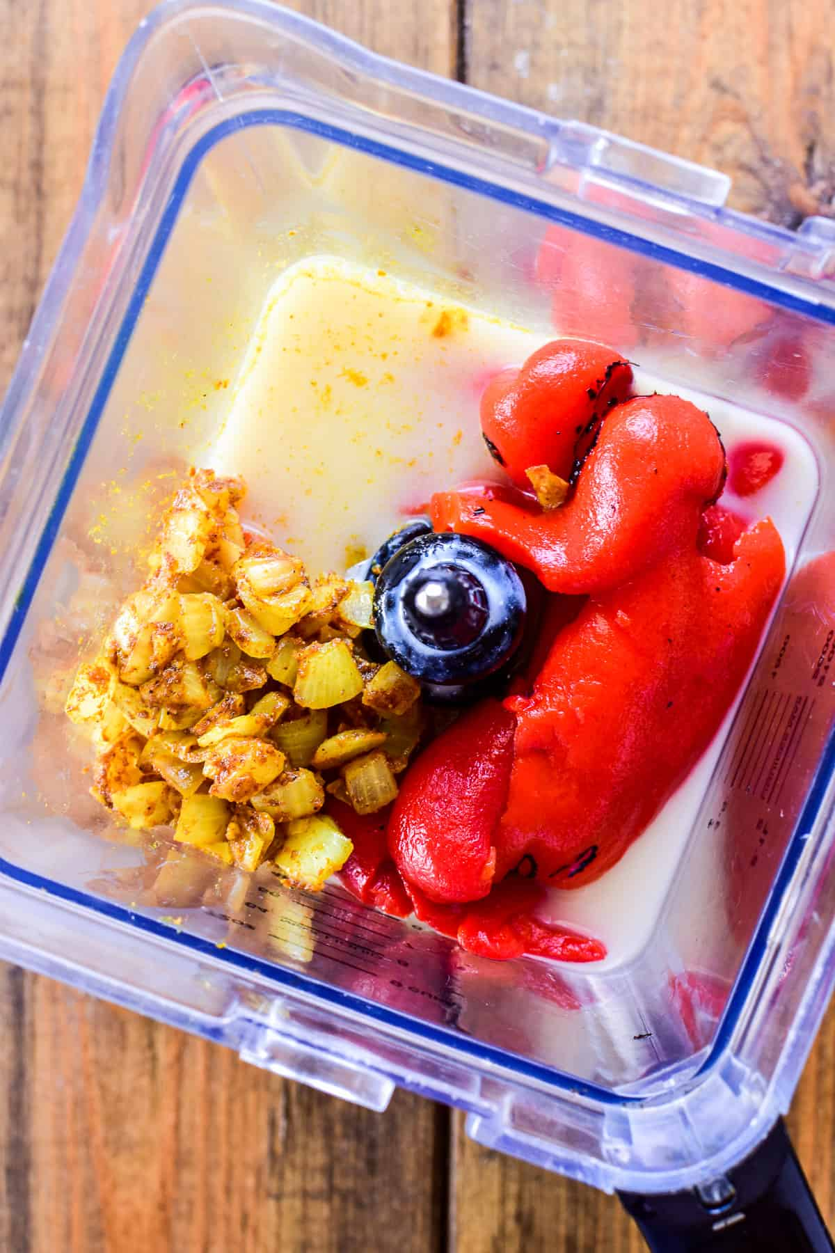 Roasted Red Pepper Soup ingredients in a blender